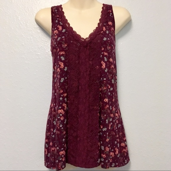 8d6adcc3ad9086 Decree Tops | Burgundy Floral Tank Top With Lace Detail | Poshmark